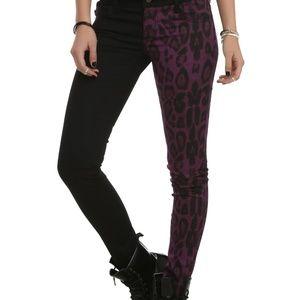 royal bones tripp leopard split jeans pants